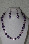 "MBAHB #00014-8741  ""One Of A Kind Purple & Pink Bead Necklace & Earring Set"""