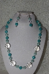 "MBAHB #00015-8986  ""One Of A Kind Blue & Clear Bead Necklace & Earring Set"""