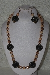 "MBAHB #00015-8981  ""One Of A Kind Tan & Black  Bead Necklace & Earring Set"""