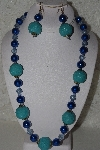"MBAHB #00015-8969  ""One Of A Kind Blue Bead Necklace & Earring Set"""