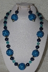 "MBAHB #00015-8957  ""One Of A Kind Blue Bead Necklace & Earring Set"""