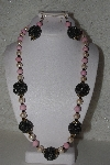"MBAHB #00015-8939  ""One Of A Kind Cream, ,Pink & Brown Bead Necklace & Earring Set"""