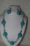 "MBAHB #00015-8901  ""One Of A Kind Blue & Clear Bead Necklace & Earring Set"""