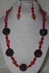 "MBAHB #00015-8878  ""One Of A Kind Red & Brown Bead Necklace & Earring Set"""