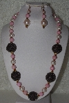 "MBAHB #00015-8914  ""One Of A Kind Pink,Cream & Black Bead Necklace & Earring Set"""