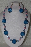 "MBAHB #00015-9085  ""One OF A Kind Blue & Pink Bead Necklace & Earring Set"""