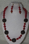 "MBAHB #00015-9077  ""One Of A Kind Red & Brown Bead Necklace & Earring Set"""