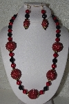 "MBAHB #00015-9059  ""One Of A Kind Red & Black Bead Necklace & Earring Set"""