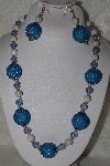 "MBAHB #00015-9053  ""One Of A Kind Blue & Natural Bead Necklace & Earring Set"""