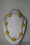 "MBAHB #00015-9035  ""One Of A Kind Yellow Bead Necklace & Earring Set"""