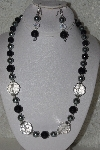 "MBAHB #00015-9005  ""One Of A Kink Black, Silver & Clear Bead Necklace & Earring Set"""