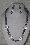 "MBAHB #00015-8998  ""One Of A Kind Clear & Lavender Bead Necklace & Earring Set"""