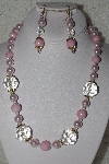 "MBAHB #00015-8951  ""Fancy Pink & Clear Glass Bead Necklace & Earring Set"""