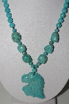 "MBAMG #00016-0127     ""Howlite & Turquoise Carved Eagle Pendant & Bead Necklace"""