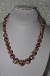 "MBAMG #00016-085  ""Brown Mother Of Pearl Resin Ball Bead Necklace"""