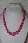 "MBAMG #00016-010   ""Fuchsia Mother Of Pearl Resin Ball Bead Necklace"""