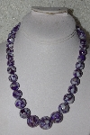 "MBAMG #00016-0090  ""Purple Mother Of Pearl Resin Ball Bead Necklace"""