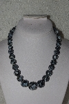 "MBAMG #00016-0095   ""Black Mother Of Pearl & Resin Ball Bead Necklace & Earring Set"""