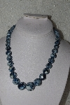 "MBAMG #00016-0100  ""Blue Mother Of Pearl Resin Ball Bead Necklace"""