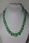 "MBAMG #00016-0105  ""Green Mother Of Pearl/Resin Ball Bead Necklace"""