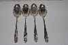 "**MBAMG #00016-001  ""Vintage Set Of 4 Nickle Silver Pink Rose NO 5542 Tablespoons"""