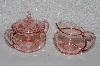 "**MBAAC #01-9446  ""Vintage Pink Glass Cream & Sugar Set"""