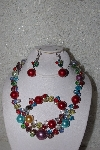 "MBAAC #01-9391  ""Multi Colored AB Crystal & Acrylic Pearl 3 Piece Set"""