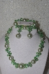 "MBAAC #01-9415  ""Light Green AB Crystal & Acrylic Pearl 3 Piece Set"""