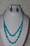 "MBAAC #01-9429  ""Blue AB Crystal Bead Necklace & Earring Set"""