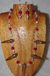 "MBAAC #02-9695  "" Valley Oak Acorn Beads, Clear Glass & Rose Riverstone Bead Necklace & Earring Set"""