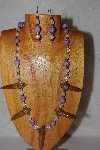 "MBAAC #02-9710  ""Valley Oak Acron Beads, Clear & Lavender Bead Necklace & Earring Set"""