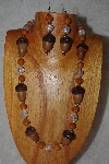 "MBAAC #02-9842  ""White Oak Acorn Beads, Brown & Clear Bead Necklace & Earring Set"""