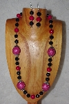 "MBAAC #02-9878  ""Pink Seed Bead Cluster Beads, Rose & Black Bead Necklace & Earring Set"""