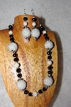 "MBAAC #02-9884  ""Pearl White Cluster Beads, Black & White Bead Necklace & Earring Set"""