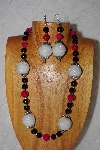 "MBAAC #02-9893  ""Pearl White Cluster Beads, Rose & Black Bead Necklace & Earring Set"""