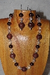 "MBAAC #03-0111  ""One Of A Kind Brown & Clear Glass Bead Necklace & Earring Set"""