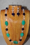"MBAAC #03-0149  ""One Of A Kind Green,DK Blue & Clear Glass Bead Necklace & Earring Set"""