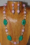 "MBAAC #03-0154  ""One Of A Kind Green,Pink & Clear Bead Necklace & Earring Set"""