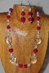 "MBAAC #03-0170  ""One Of A Kind Red,White & Clear Bead Necklace & Earring Set"""