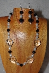 "MBAAC #03-0188  ""One Of A Kind Black,White & Clear Bead Necklace & Earring Set"""