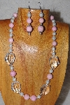 "MBAAC #03-0196  ""One Of A Kind Pink,White & Clear Glass Bead Necklace & Earring Set"""