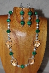 "MBAAC #03-0202  ""One OF A Kind Green,White & Clear Bead Necklace & Earring Set"""
