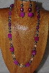 "MBADS #04-967  ""Pink, Clear & Grey Bead Necklace & Earring Set"""