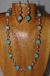 "MBADS #04-942  ""Blue & Champagne Bead Necklace & Earring Set"""