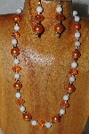 "MBADS #04-907  ""Quartzite & Orange Bead Necklace & Earring Set"""