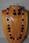 "MBADS #04-1036  ""Purple, Clear & Black Bead Necklace & Earring Set"""