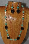 "MBADS #04-1032  ""Green, Clear & Black Beads Necklace & Earring Set"""