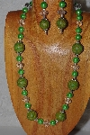 "MBASS #0003-226  ""Green & Clear Bead Necklace & Earring Set"""
