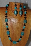 "MBASS #0003-305  ""Blue & Black Bead Necklacxe & Earring Set"""