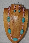 "MBASS #0003-0117  ""Pink & Blue Bead Necklace & Earring Set"""
